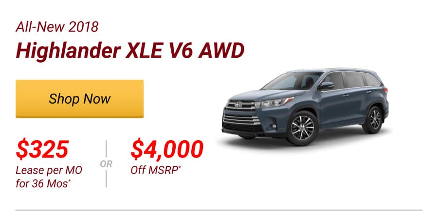 All-New 2018 Highlander XLE V6 AWD Special Offer