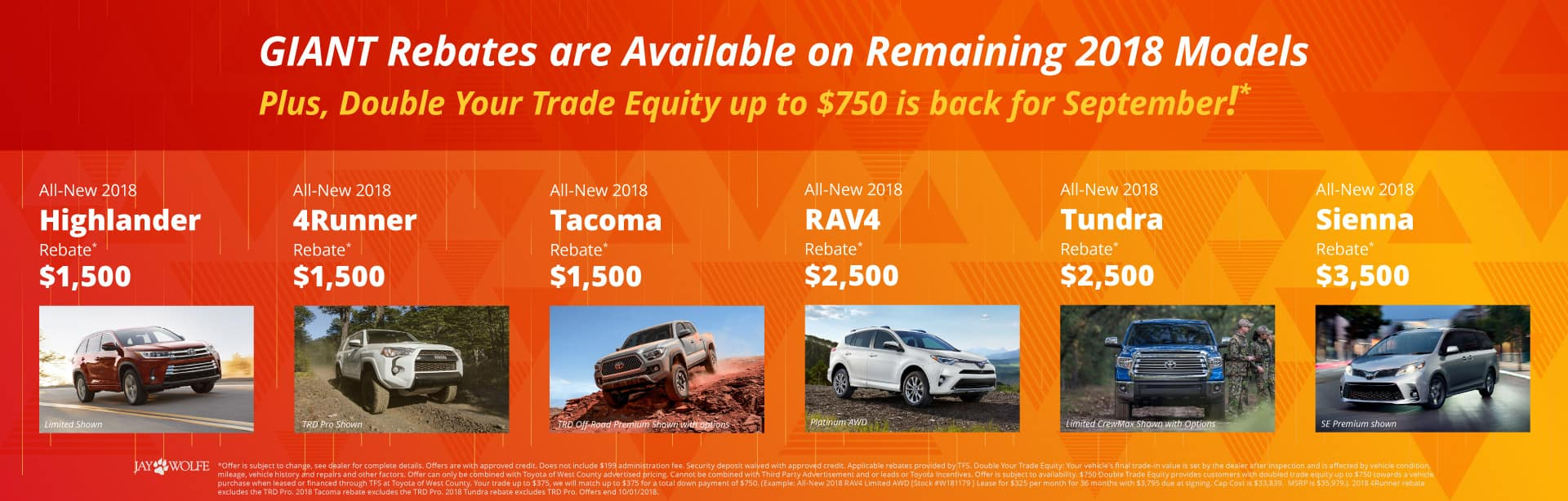 Giant Rebates Available on Remaining 2018 Toyota Models