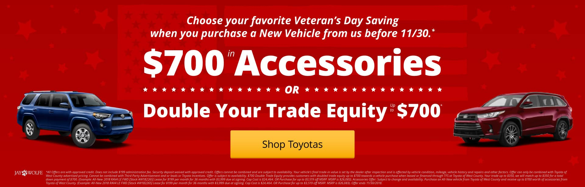 Purchase a new vehicle and choose $700 in Trade Equity OR $700 in your choice of Accessories!*