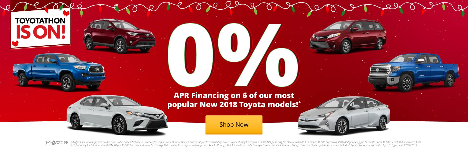 0.0% APR Financing on 6 of our most popular Toyota models!*