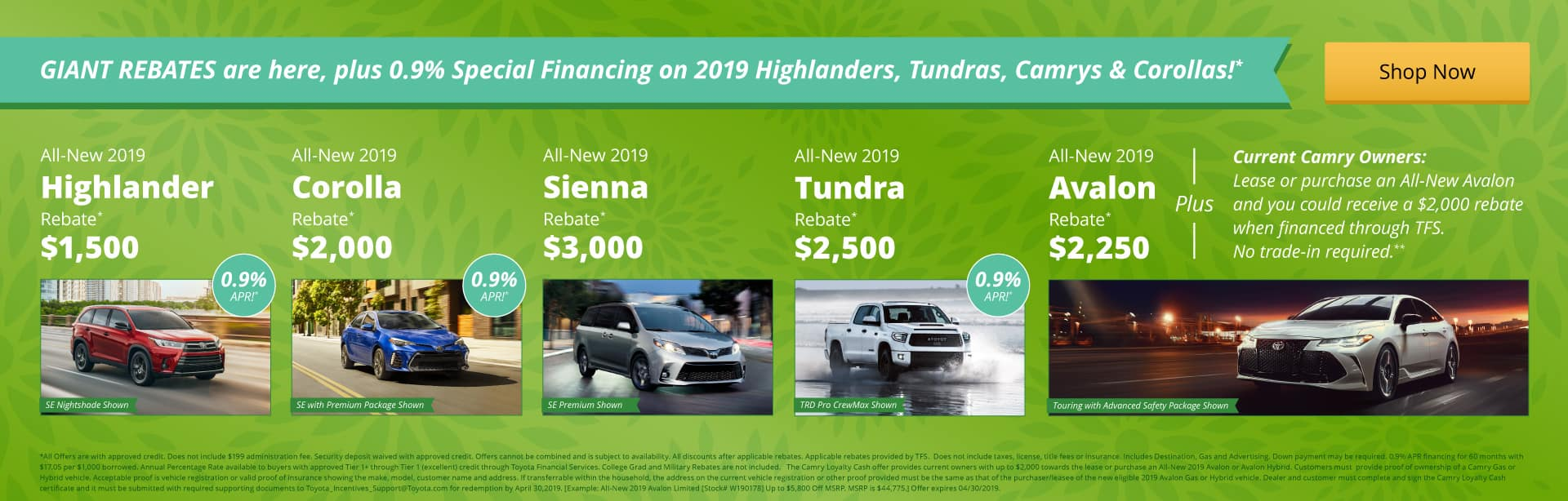 Giant Rebates + 0.9% APR Special Financing is here!