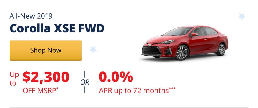 Up to $2,300 Off MSRP on the All-New 2019 Corolla XSE FWD