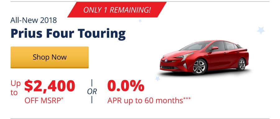Up to $2,400 Off MSRP on the All-New 2018 Prius Four Touring