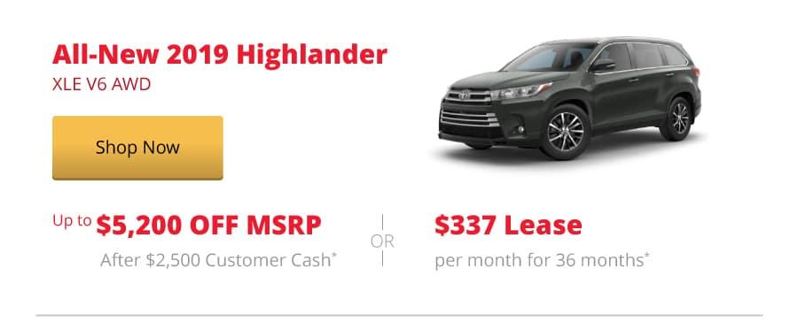 All-New 2019 Highlander XLE V6 AWD