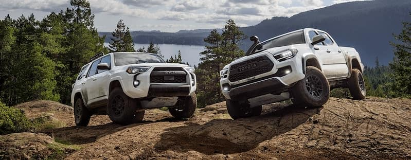 4Runner and Tacoma Double Cab TRD Pro shown in Super White