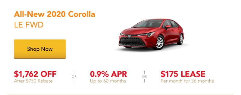 All-New 2020 Corolla LE FWD special offers