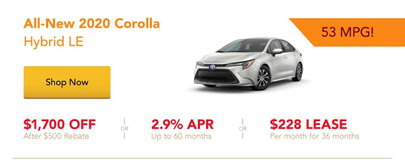 All-New 2020 Corolla Hybrid LE special offers