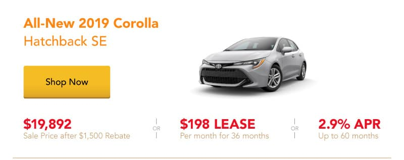 All-New 2019 Corolla Hatchback SE special offers