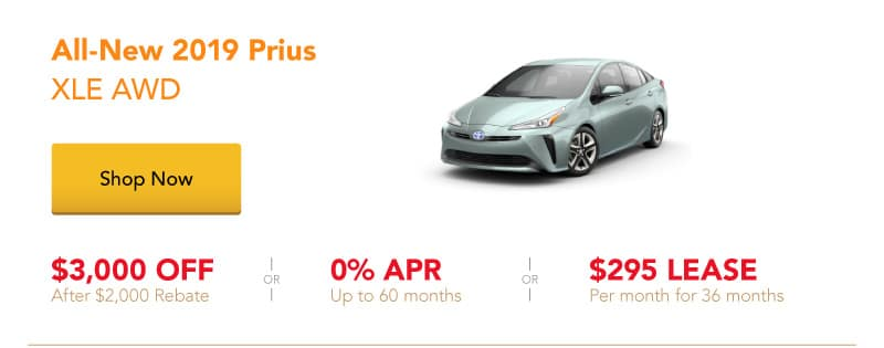 All-New 2019 Prius XLE AWD special offers