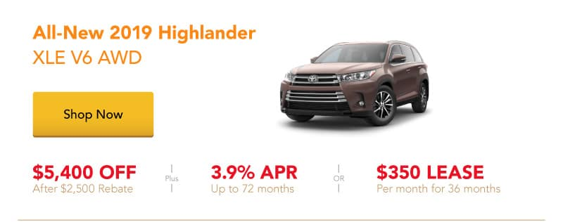 All-New 2019 Highlander XLE V6 AWD special offers