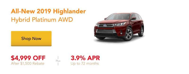 All-New 2019 Highlander Hybrid Platinum special offers