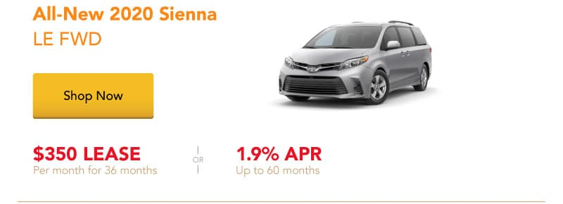 All-New 2020 Sienna LE FWD special offers