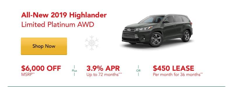 All-New 2019 Highlander Limited Platinum AWD