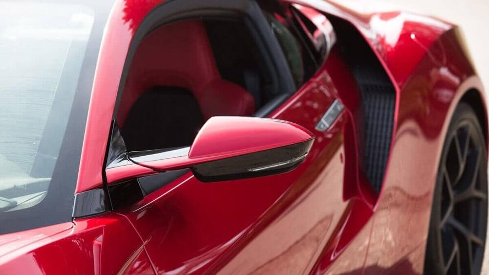 2017 Acura NSX mirror up close