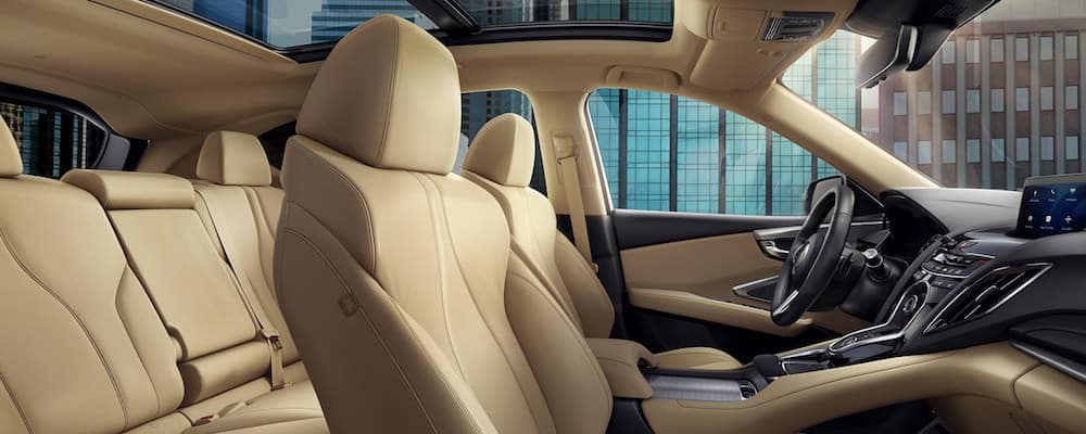Side view of tan Acura RDX interior seating