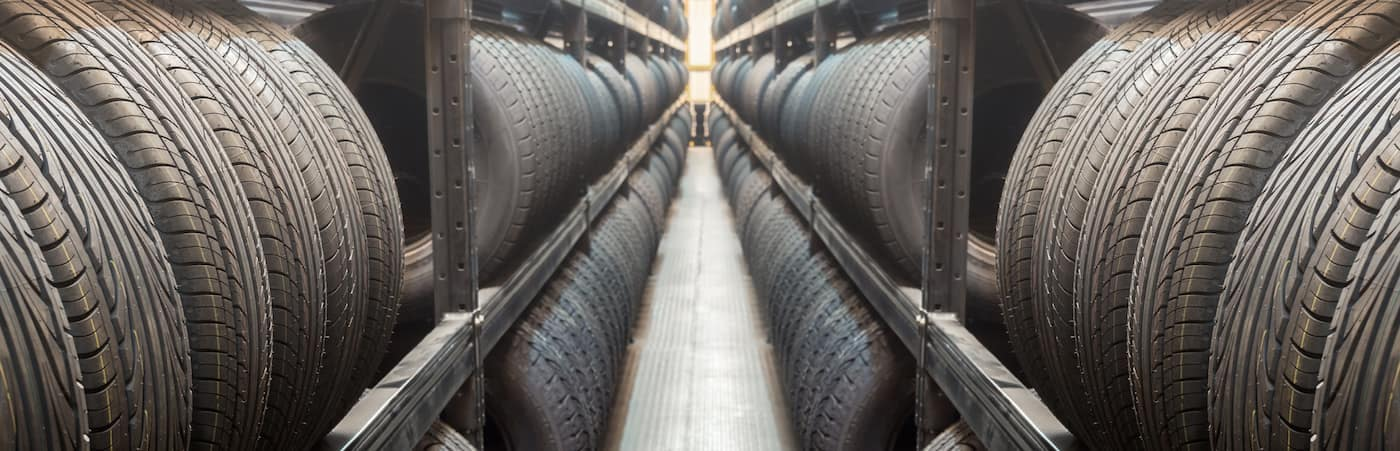 Two Rows of tires on Shelves