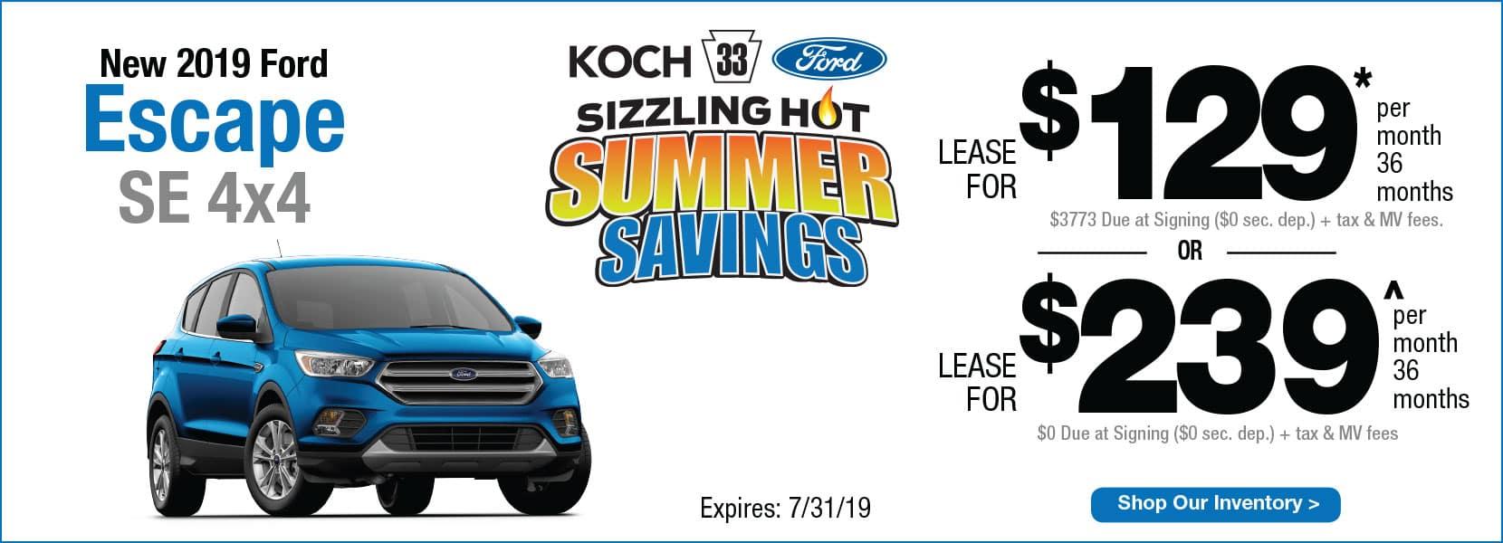 New 2019 Ford Escape SE 4x4 Koch 33 Ford