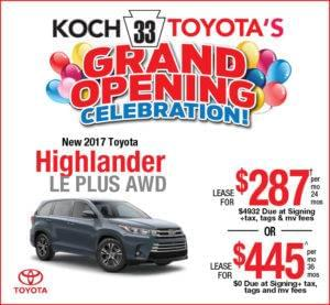 Toyota Highlander Lease >> Koch 33 Toyota Easton Pa Highlander Lease Offer Koch 33 Toyota