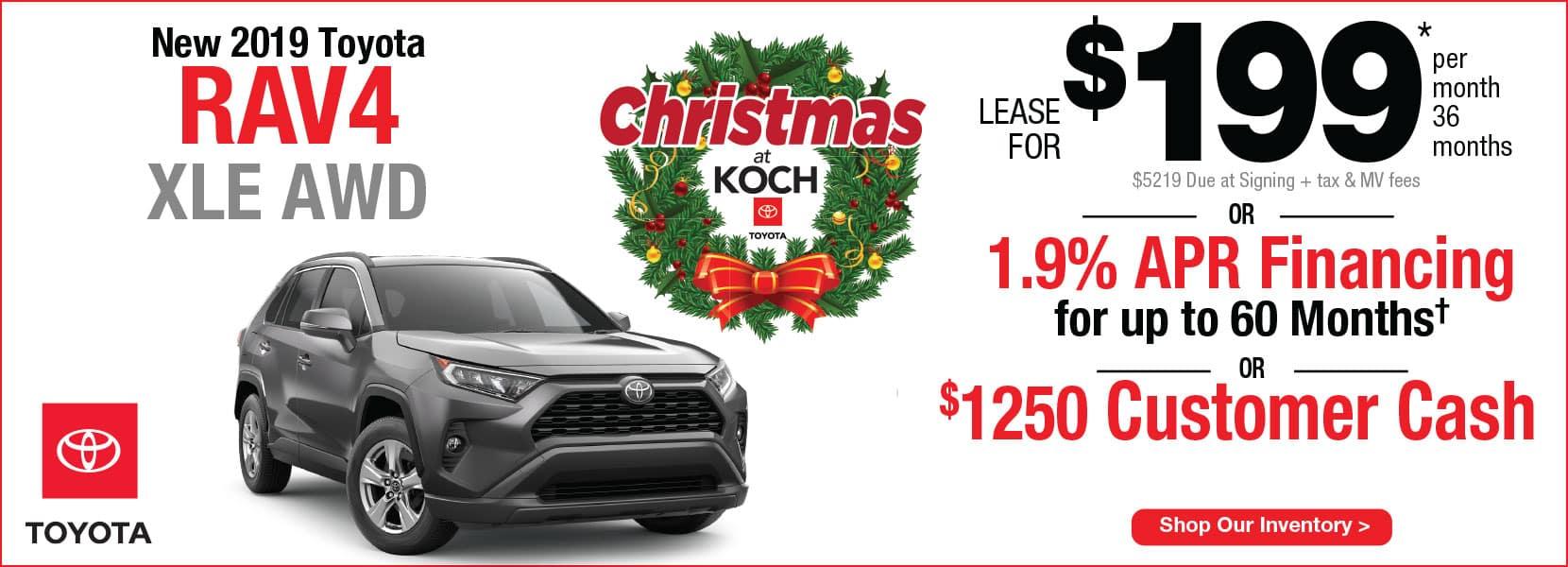 New 2019 Toyota RAV4 XLE AWD Lease Koch 33 Toyota Easton PA