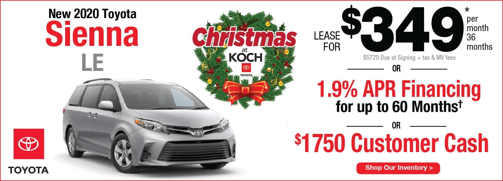 New 2020 Toyota Sienna LE Lease Koch 33 Toyota Easton PA
