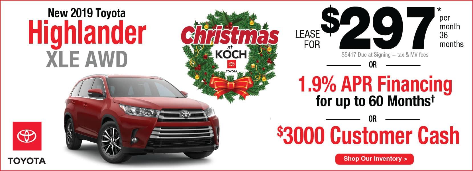 New 2019 Toyota Highlander XLE AWD Lease Koch 33 Toyota Easton PA