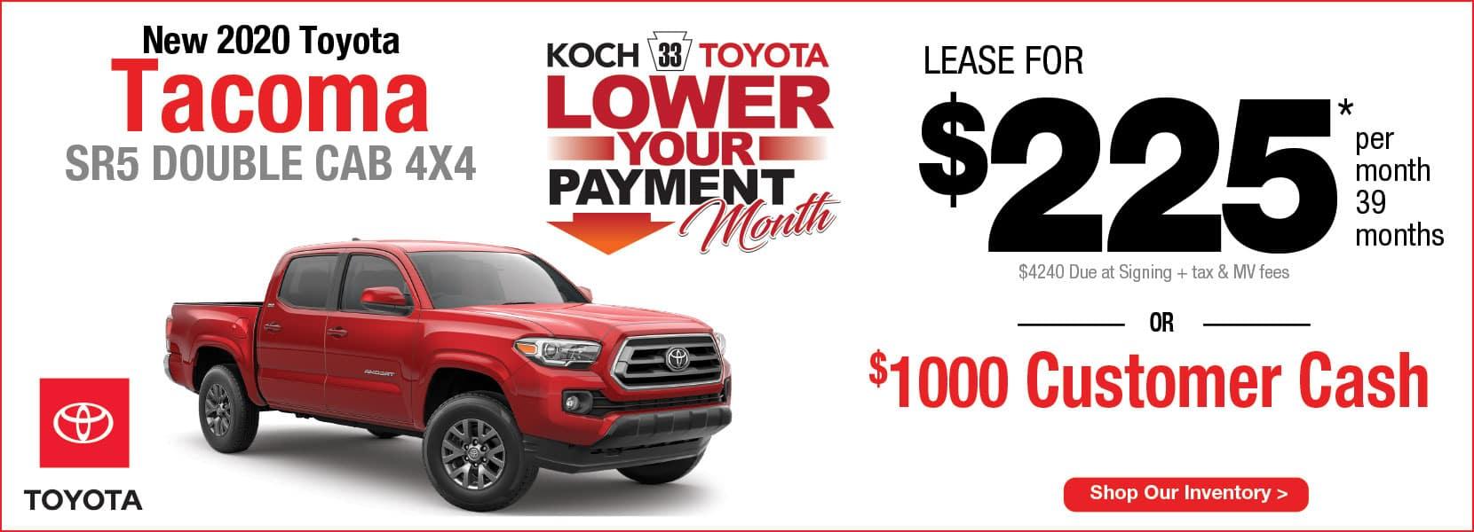 New 2020 Toyota Tacoma SR5 Lease Koch 33 Toyota Easton PA