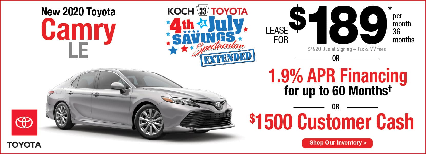 New 2020 Toyota Camry LE Lease Koch 33 Toyota Easton PA