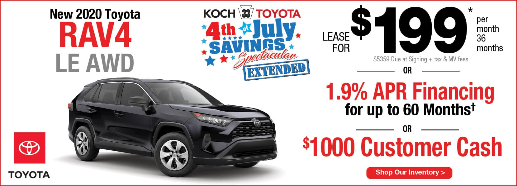 New 2020 Toyota RAV4 LE AWD Lease Koch 33 Toyota Easton PA