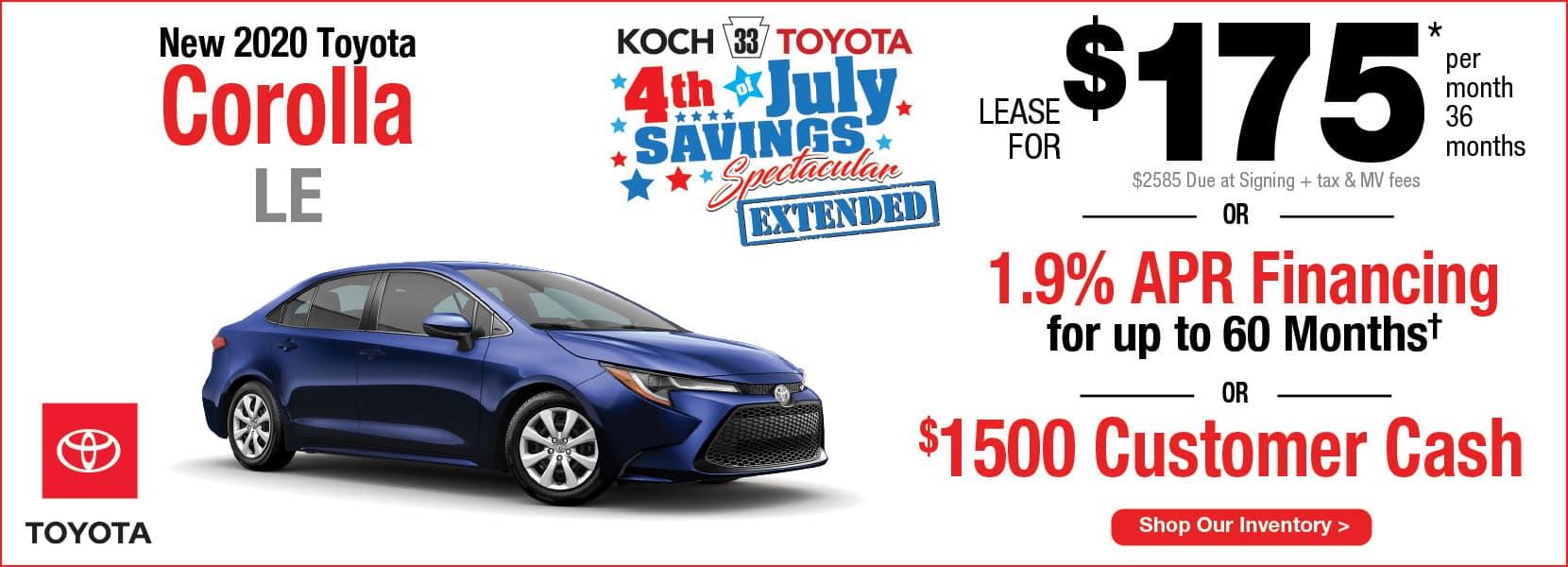 New 2020 Toyota Corolla LE Lease Koch 33 Toyota Easton PA
