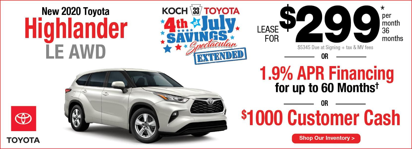 New 2020 Toyota Highlander Lease Koch 33 Toyota Easton PA