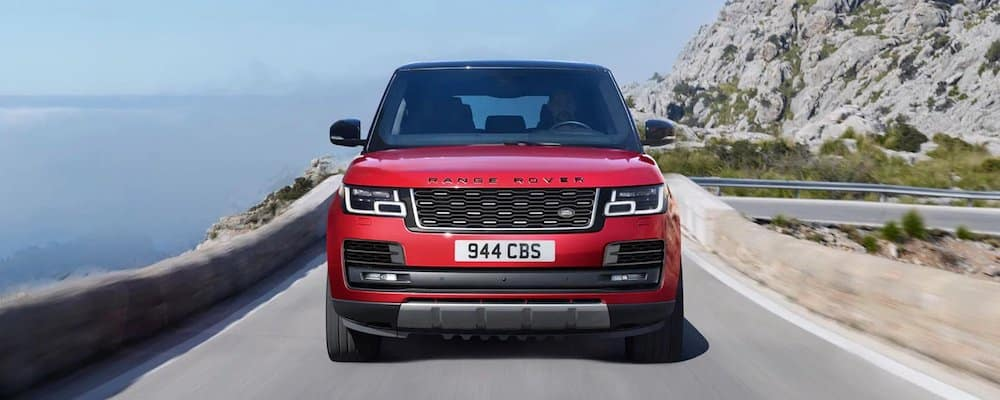 Red 2020 Range Rover Driving on Highway