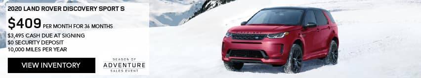 2020 LAND ROVER DISCOVERY SPORT S. $409 PER MONTH. 36 MONTH LEASE TERM. $3,495 CASH DUE AT SIGNING. $0 SECURITY DEPOSIT. 10,000 MILES PER YEAR. EXCLUDES RETAILER FEES, TAXES, TITLE AND REGISTRATION FEES, PROCESSING FEE AND ANY EMISSION TESTING CHARGE. ENDS 1/4/2021. VIEW INVENTORY. RED LAND ROVER DISCOVERY SPORT S PARKED ON SNOW COVERED MOUNTAIN.