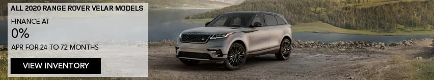 ALL 2020 RANGE ROVER VELAR MODELS. FINANCE AT 0% APR FOR 24 TO 72 MONTHS. OFFER ENDS 6/30/2020. VIEW INVENTORY. LIGHT BROWN VELAR PARKED BY RIVER AND MOUNTAIN.