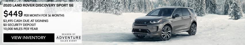 2020 LAND ROVER DISCOVERY SPORT SE. $449 PER MONTH. 36 MONTH LEASE TERM. $3,495 CASH DUE AT SIGNING. $0 SECURITY DEPOSIT. 10,000 MILES PER YEAR. EXCLUDES RETAILER FEES, TAXES, TITLE AND REGISTRATION FEES, PROCESSING FEE AND ANY EMISSION TESTING CHARGE. ENDS 1/4/2021. VIEW INVENTORY. SILVER DISCOVERY SPORT PARKED IN SNOW COVERED VALLEY.