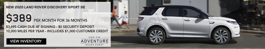 NEW 2020 LAND ROVER DISCOVERY SPORT SE. $389 PER MONTH. 36 MONTH LEASE TERM. $3,495 CASH DUE AT SIGNING. $0 SECURITY DEPOSIT. 10,000 MILES PER YEAR. EXCLUDES RETAILER FEES, TAXES, TITLE AND REGISTRATION FEES, PROCESSING FEE AND ANY EMISSION TESTING CHARGE. INCLUDES $1,000 CUSTOMER CREDIT. ENDS 3/31/2021. VIEW INVENTORY. WHITE LAND ROVER DISCOVERY SPORT DRIVING THROUGH CITY.