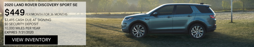 2020 LAND ROVER DISCOVERY SPORT SE. $449 PER MONTH. 36 MONTH LEASE TERM. $3,495 CASH DUE AT SIGNING. $0 SECURITY DEPOSIT. 10,000 MILES PER YEAR. EXCLUDES RETAILER FEES, TAXES, TITLE AND REGISTRATION FEES, PROCESSING FEE AND ANY EMISSION TESTING CHARGE. ENDS 7/31/2020. VIEW INVENTORY. BLUE LAND ROVER DISCOVERY SPORT SE PARKED ON FOOTBALL FIELD.