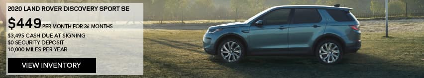 2020 LAND ROVER DISCOVERY SPORT SE. $449 PER MONTH. 36 MONTH LEASE TERM. $3,495 CASH DUE AT SIGNING. $0 SECURITY DEPOSIT. 10,000 MILES PER YEAR. EXCLUDES RETAILER FEES, TAXES, TITLE AND REGISTRATION FEES, PROCESSING FEE AND ANY EMISSION TESTING CHARGE. ENDS 8/31/2020. VIEW INVENTORY. BLUE DISCOVERY SPORT PARKED ON FOOTBALL FIELD.