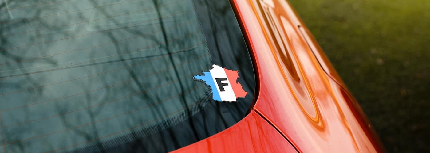 Sticker on back car window