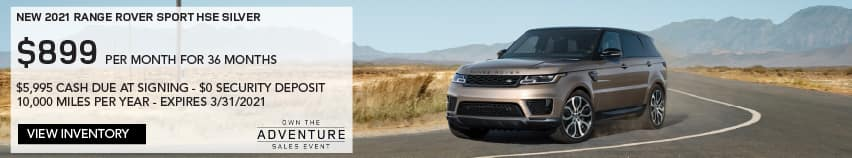 NEW 2021 RANGE ROVER SPORT HSE SILVER. $899 PER MONTH. 36 MONTH LEASE TERM. $5,995 CASH DUE AT SIGNING. $0 SECURITY DEPOSIT. 10,000 MILES PER YEAR. EXCLUDES RETAILER FEES, TAXES, TITLE AND REGISTRATION FEES, PROCESSING FEE AND ANY EMISSION TESTING CHARGE. ENDS 3/31/2021. VIEW INVENTORY. SILVER RANGE ROVER SPORT DRIVING THROUGH DESERT.