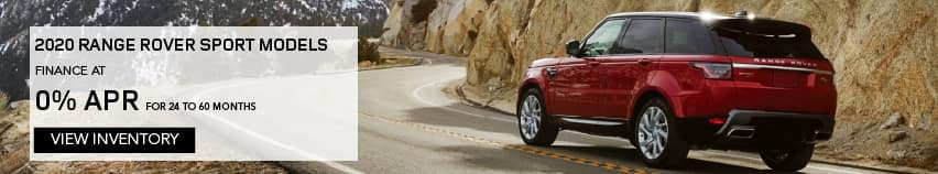 ALL 2020 RANGE ROVER SPORT MODELS. FINANCE AT 0% APR 72 OR 0% APR FOR 24-60 MONTHS. EXCLUDES TAXES, TITLE, LICENSE AND FEES. OFFER ENDS 11/2/2020. VIEW INVENTORY RED RANGE ROVER SPORT DRIVING THROUGH MOUNTAINS.