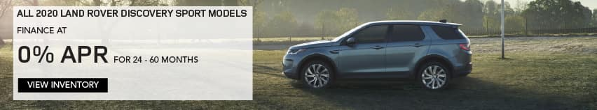 ALL 2020 LAND ROVER DISCOVERY SPORT MODELS. FINANCE AT 0% APR FOR 24 TO 60 MONTHS. EXCLUDES TAXES, TITLE, LICENSE AND FEES. OFFER ENDS 2/1/2021. VIEW INVENTORY. BLUE LAND ROVER DISCOVERY SPORT PARKED ON FOOTBALL FIELD.