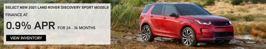 SELECT 2021 LAND ROVER DISCOVERY SPORT MODELS. FINANCE AT 0.9% APR FOR 24 TO 36 MONTHS. EXCLUDES TAXES, TITLE, LICENSE AND FEES. OFFER ENDS 4/30/2021. VIEW INVENTORY. RED LAND ROVER DISCOVERY SPORT PARKED ON TRAIL.