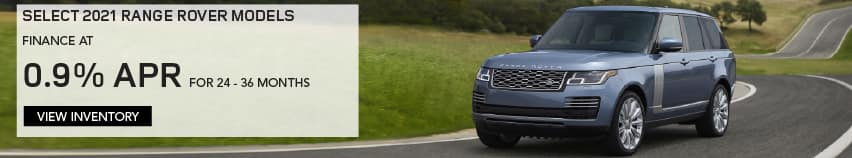 SELECT 2021 RANGE ROVER MODELS. FINANCE AT 0.9% APR FOR 24 TO 36 MONTHS. EXCLUDES TAXES, TITLE, LICENSE AND FEES. OFFER ENDS 6/1/2021. VIEW INVENTORY. BLUE RANGE ROVER DRIVING THROUGH COUNTRYSIDE.