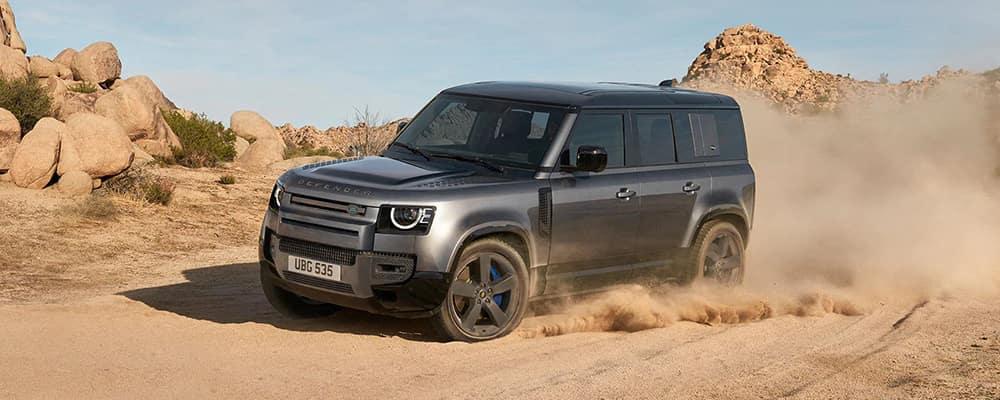 2021 land rover defender v8 driving in desert