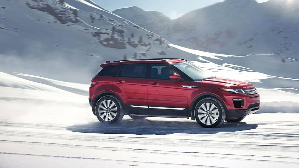 2019 Range Rover Evoque driving through snow