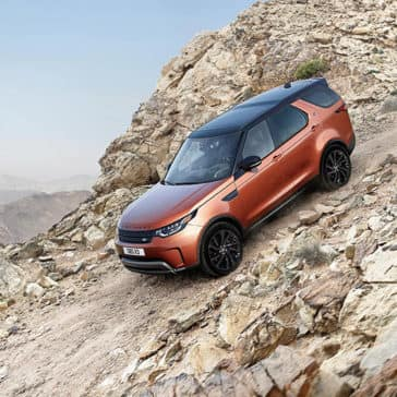 2019 Land Rover Discovery Off-Roading Down Rocky Mountain Hill