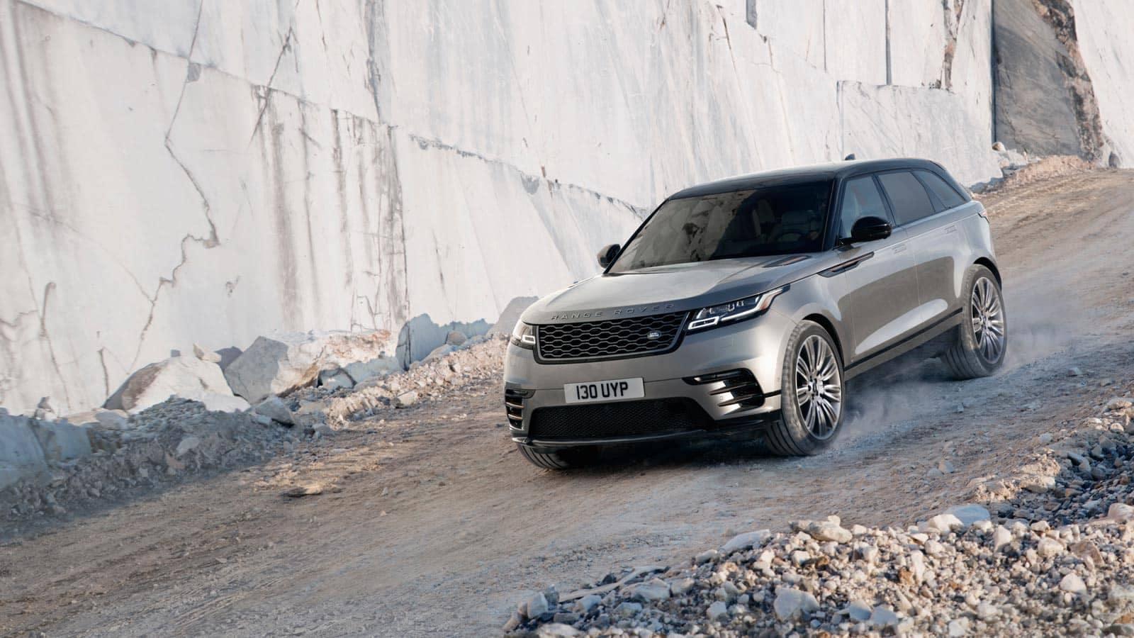 2019 Land Rover Range Rover Velar driving down slope