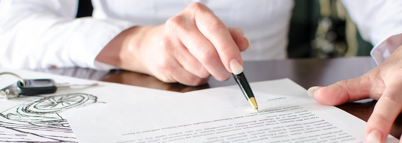 Car finance paperwork with finance specialist