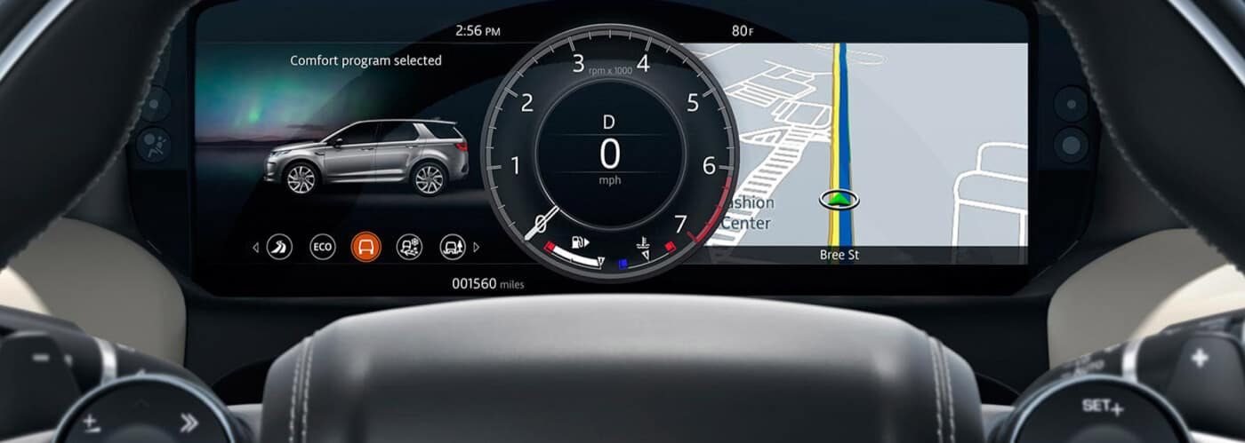 Interior dash of a land rover vehicle with heads up display