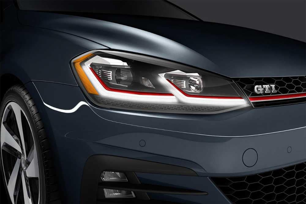 2018 Volkswagen Golf GTI headlight up close